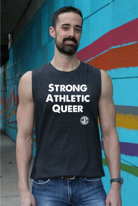 Strong Athletic Queer All Gender Grey Muscle Tank - Click Image to Close